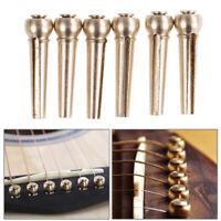 6pcs Brass Premium Bridge Pins Set For Acoustic Guitar Turned String Pegs GVUS