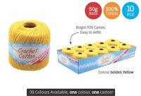 10 x Super Soft Crochet Cotton Ball 50g Wool Yarn Golden Yellow NEW (WIN-092)