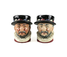 """2pc Royal Doulton Beefeater D6233 Small 3 1/2"""" Toby Jugs, GR an ER Royal cipher"""