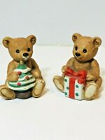 Vintage Homco Christmas Bears Figurines Home Interiors #5505 Porcelain Lot of 2