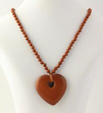 NEW Goldstone Glass Heart Pendant Necklace - 925 Sterling Silver Clasp Women's