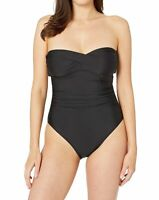 Athena Womens Swimwear Black Size 6 Side Shirred Twist Bandeau One-Piece $70 324