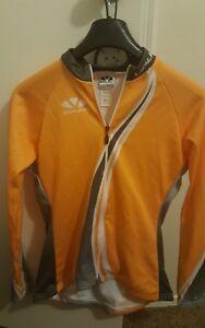 Voler Women's Medium Club Raglan Grey/orange Cycling Jersey Full Zip Long Sleeve