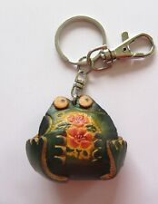 Leather Key Ring-Bag Charm  FROG - green yellow brown trigger hook & ring