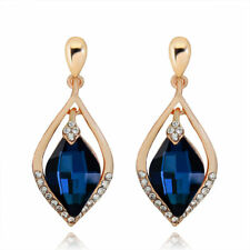 Gorgeous Gold Plated Sapphire Blue Cubic Zirconia Clear Crystal Dangle Earrings
