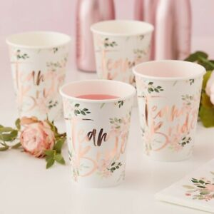 8 CUPS Floral Bride Rose Gold Party to Be Bridal Shower Hen Night Team Kit