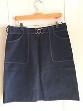 Women's DKNY Skirt 100% Cotton Sz 10 Navy Belted