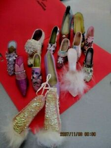 Lot of 14 Vintage Miniature Shoes  &sequin heeled slipper ornament    lot   16