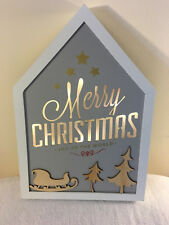 Xmas LED LIGHT UP 'Merry Christmas' Framed Wall Art  Wood Frame PICTURE w timer
