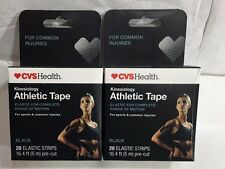 Kinesiology Athletic Tape LOT OF 2 BOXES Black  20 Elastic Strip each box CVS