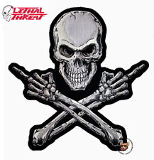 LETHAL THREAT MIDDLE FINGER SKULL PATCH 11-1/2 INCHES VEST BACK PATCH FREE SHIP