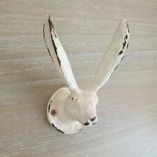 Antique White Style Metal Hare Coat Hook Wall Rabbit Bunny Shabby Chic Sculpture