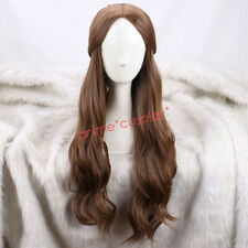 Beauty and the Beast Princess Belle long wavy brown Cosplay Wigs +a wig cap New