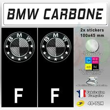 "2x Stickers Plaques D'immatriculation Fond Noir ""BMW Carbone"" F 100x45 mm"