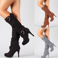 Women Knee High Mid Calf Stiletto Heel Belt Buckle Zip Boots Suede Stretch Shoes