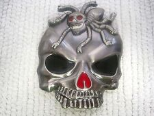 "Folk Art Chrome Colored Skull w/Eight Legged Spider Belt Buckle 3"" x 3 3/4"""
