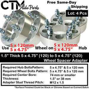 """4PCS 1.5"""" THICK 5x4.75(5x120) TO 5x4.75(5x120) WHEEL ADAPTER FIT CHEVY GMC MORE"""