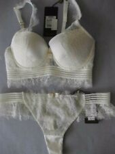 PLEASURE STATE Couture SAVANNA 10D / 32D Bra Sml Thong Ivory SILK / Lace Rrp$200