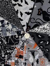 Halloween Fat Quarter Bundle Nine Black Orange White Prints