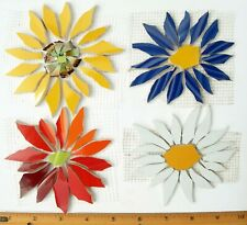 4 Large Yellow, Red, Blue Daisy Flower Mosaic Tiles, Broken Cut China Plate