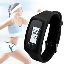Mens Digital LCD Pedometer Run Step Walk Distance Calorie Counter Watch Black TR
