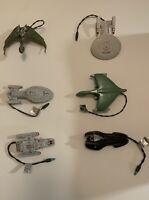 6 Star Trek Hallmark Ornaments See Pics Original Boxes Enterprise, Bird Of Prey