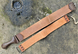 NO RESERVE TWO Vintage Straight Razor Leather Strops Antique Houghton & Co