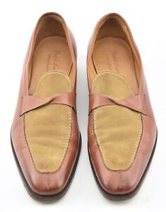 GAZIANO & GIRLING 10.5 UK / 11 US HANDSEWN TWO TONE LOAFERS DRESS SHOES