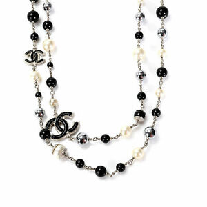 Chanel Black and White Bead Necklace With CC Logo