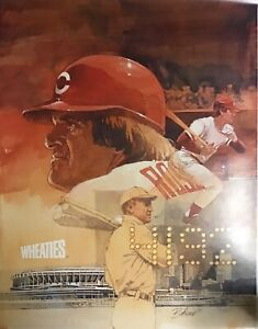 """Pete Rose 4192 Hits Record 1985 Wheaties Poster 24""""x18"""""""