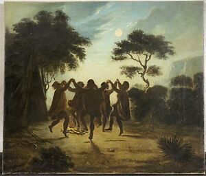 Antique 19th C. Native American Indians Fire Dancing at Moonlight Oil Painting