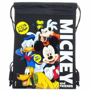 Black Disney Mickey & Friends Drawstring Backpack Sling Tote School Gym Bag
