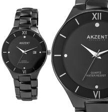 Herrennuhr Quarz Armbanduhr elegant Schwarz  IP Edelstahl Datum 28/73 AKZENT