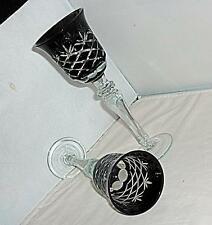 2 STUNNING VINTAGE RETRO CZECH BOHEMIAN BLACK CUT GLASS WINE GLASSES 23cm HIGH