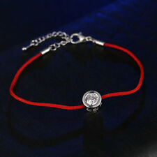 Lucky Red line bracelet with 6mm Round Cubic Zircon Charm Against evil eye