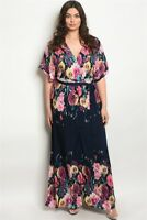 Women's Plus Size Navy Blue Floral Wrap Style Maxi Dress Lined 1X NWT