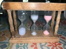 Vintage Triple Hourglass Sand Timer Wood Frame