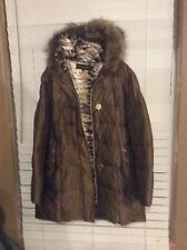 baby phat jacket coat padded puffer  bronze faux fur hood