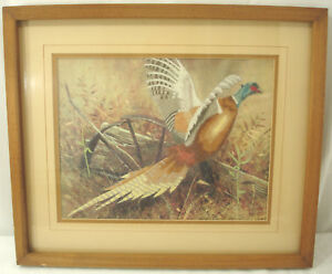"""Vintage Embroidered Pheasant Wooden Frame Faux Glass 19"""" x 16"""""""