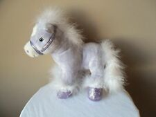 "Horse Pony Animal Alley Purple Plush Stuffed Sparkle White Boa feathers 2009"""