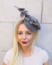 Dark Grey Silver Orchid Flower Fascinator Statement Headpiece Hair Clip 2547