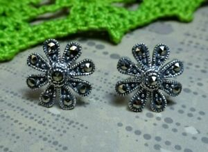 My S Collection 925 Sterling Silver & Marcasite Flower Stud Earrings