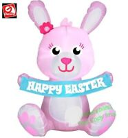 EASTER BUNNY WITH BANNER AIRBLOWN INFLATABLE YARD DECORATION 3.5 FT  GEMMY