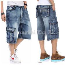 Men Summer Jean Denim Shorts Hip Hop Board Cargo Loose Pants High Waisted Shorts