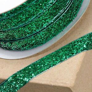 GREEN VELVET GLITZY RIBBON 10mm x 10M CRAFT CHRISTMAS CAKE GIFT WRAP BIRTHDAY