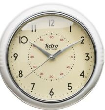Retro Vintage Chunky Round Wall Clock Kitchen Diner Room Home Decoration Cream