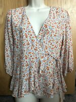 New Look White Ditsy Floral Puff Sleeve Wrap Top Blouse UK Size 6 New With Tags