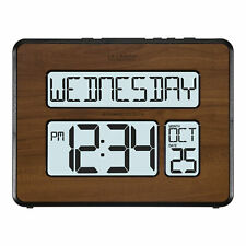 513-1419BL-WA La Crosse Technology Atomic Digital Wall Clock Backlight - Walnut