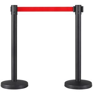 2x Personenleitsystem Absperrpfosten Absperrständer Absperrung schwarz/rot