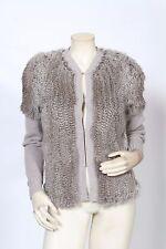 HAUTE HIPPIE Grey Rabbit Fur Shaggy Knit Wool Sweater Sz XS *MINT*